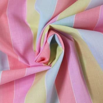 Tissu rayé Pastel multicolore