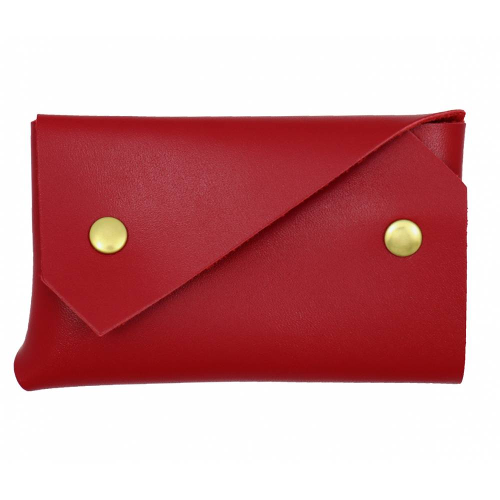 Porte-monnaie Origami veau lisse rouge or