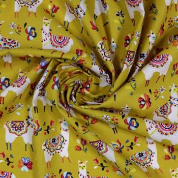 Tissu coton Alpaga curry