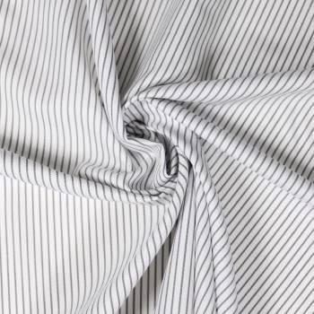 Tissu coton rayé gris