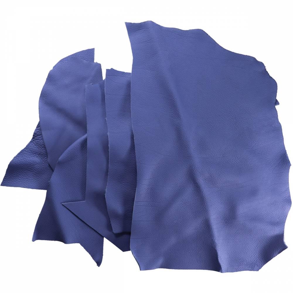 Chutes de cuir de Taurillon grainé bleu