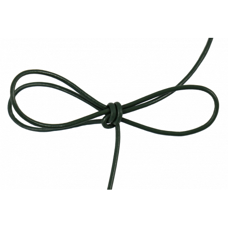 Lacet cuir rond 2 mm vert sapin
